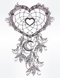 Heart shaped dream catcher with moon. Royalty Free Stock Photos