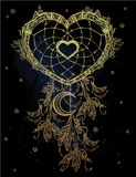 Heart shaped dream catcher with moon. Stock Photo