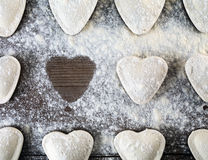 Heart shaped dumplings Stock Photography
