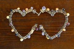 Heart shaped earrings Royalty Free Stock Image