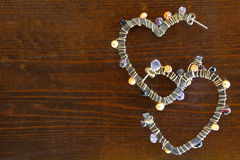 Heart shaped earrings Royalty Free Stock Photography