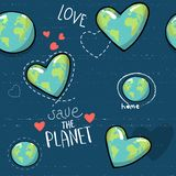 Heart shaped earth. Cartoon globe. web icons green happy nature character. love ecology earth planet world map seamless. Pattern vector illustration. save the vector illustration