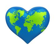 Heart Shaped Earth Isolated Stock Photography