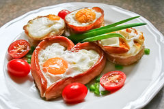 Heart shaped egg breakfast Royalty Free Stock Image