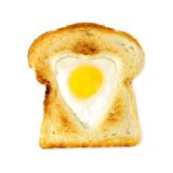 Heart shaped egg in toast isolated Stock Image