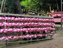Heart shaped ema plaques ( wish plaques ) at shrine in Kyoto, Japan Royalty Free Stock Photography