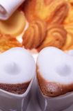 Heart shaped espresso coffee cappuccino cups Stock Photography