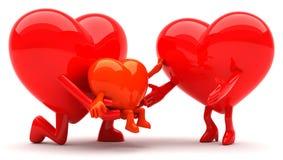 Heart shaped family mascots Royalty Free Stock Photo