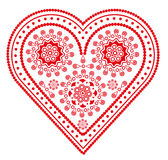 Heart shaped figure. Beautiful red fancy valentine heart isolated on white Royalty Free Stock Photography