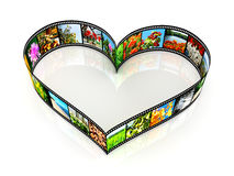 Heart shaped filmstrip. On white backgrounds Royalty Free Stock Images