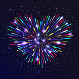 Heart-shaped firework. With multicolored lights. The glow and sparkle around. Bright love concept Stock Photo
