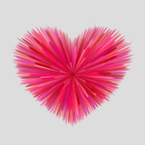 Heart-shaped firework. Of red, pink and maroon beams at gray background. Bright love concept Royalty Free Stock Photography