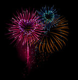 Heart shaped fireworks. (  illustration Stock Photo