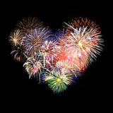 Heart shaped fireworks. In the night Royalty Free Stock Image
