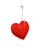 Heart Shaped on the Fishing Hook Stock Images