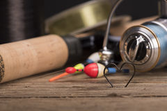 Heart shaped fishing hooks. And fishing tools Stock Photos