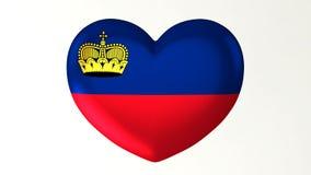 Heart-shaped flag 3D Illustration I love Liechtenstein vector illustration