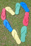 Heart Shaped Flip-Flops Stock Photos