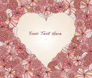 Heart-shaped Floral Frame. Retro flowers make frame for text Royalty Free Stock Photography
