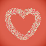 Heart shaped floral frame. Valentines Day card vector template royalty free illustration