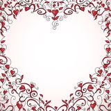 Heart-shaped floral frame, vector illustration Royalty Free Stock Photos
