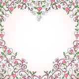 Heart-shaped floral frame, vector illustration Royalty Free Stock Image