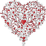 Heart-shaped floral ornament, vector illustration. Heart made of floral ornament with hearts on white background, vector illustration royalty free illustration