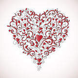 Heart-shaped floral ornament, vector illustration Royalty Free Stock Photo
