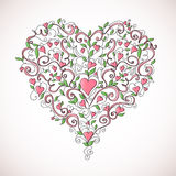 Heart-shaped floral ornament, vector illustration. Heart made of floral ornament with hearts on white background, vector illustration stock illustration