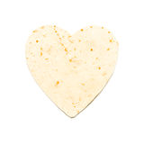 Heart Shaped Flour Tortilla. On White Background Royalty Free Stock Images