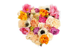 Heart shaped flower bouquet isolated on white Stock Images