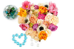 Heart shaped flower bouquet isolated on white Stock Image