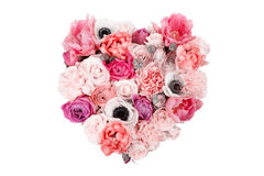 Heart shaped flower bouquet isolated on white Royalty Free Stock Image