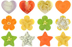 Heart shaped, flower shaped and star shaped fruit and vegetable Royalty Free Stock Photos