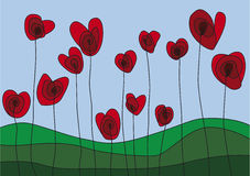 Heart shaped flowers. Weird heart shaped flowers on sky background Royalty Free Illustration