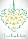 Heart shaped flowers card Stock Photo