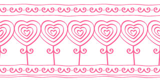 Heart shaped flowers, doodle seamless pattern for border, lace, vector illustration Royalty Free Stock Photos