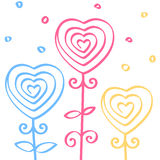 Heart shaped flowers, hand drawn doodle ornament, line seamless pattern, vector illustration Stock Images