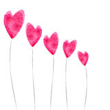 Heart-shaped flowers. Vector background with pink heart-shaped flowers Stock Photography