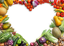 Heart shaped food. Food photography of heart made from different fruits and vegetables Stock Photo