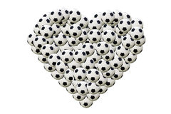 Heart shaped football on white background Stock Photos