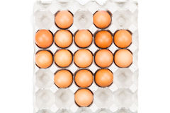 Heart shaped formation on tray with eggs. Stock Image