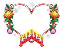 Heart-shaped frame with Christmas decorations and light candle arch Royalty Free Stock Images