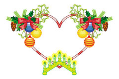 Heart-shaped frame with Christmas decorations and light candle arch. Holiday design element. Raster clip art stock image