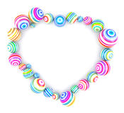 Heart Shaped Frame with Colorful Balls Stock Photography
