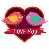 Heart shaped frame and cute inlove birds. Royalty Free Stock Images