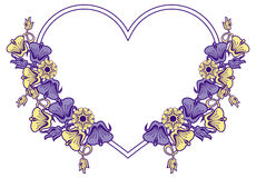 Heart-shaped frame with decorative flowers. Heart shaped frame with color decorative leaves. Raster clip art Royalty Free Stock Photos