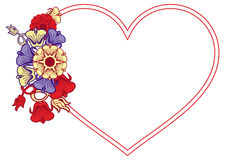 Heart-shaped frame with decorative flowers. Stock Photos