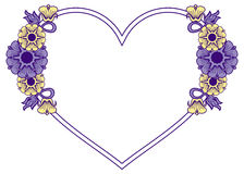 Heart-shaped frame with decorative flowers. Royalty Free Stock Images