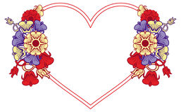 Heart-shaped frame with decorative flowers. Stock Image